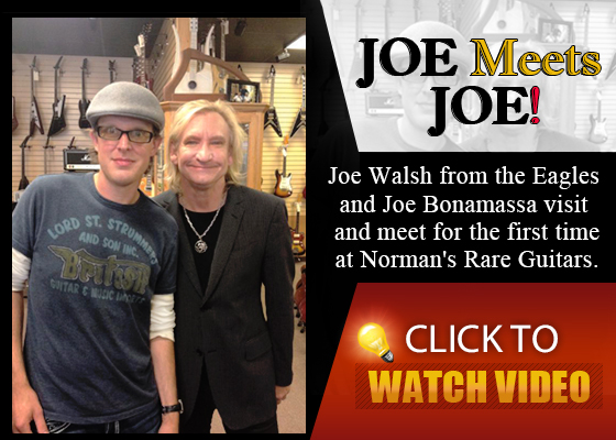 Joe Bonamassa meets with the Eagles' Joe Walsh at Norman's Rare Guitars. Watch the video here!